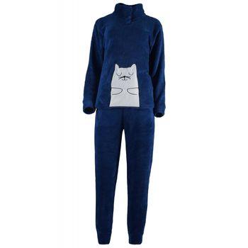 Γυναικείο πιτζάμα fleece κέντημα & κουμπιά.Comfortable style. ΜΠΛΕ