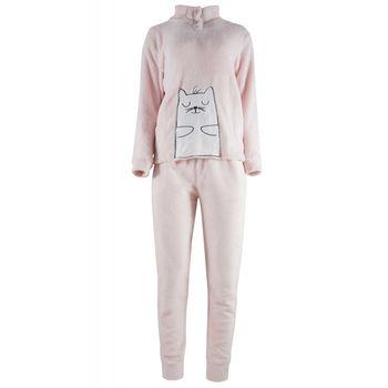 Γυναικείο πιτζάμα fleece κέντημα & κουμπιά.Comfortable style. ΡΟΖ