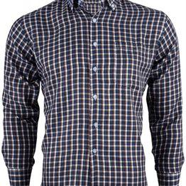 Aνδρικό καρό πουκάμισο μακρύ μανίκι & τσεπάκι ΜΠΛΕ