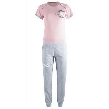 Γυναικεία πυζάμα Fawn στάμπα superday μακρύ παντελόνι. ΡΟΖ
