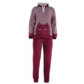 Γυναικείο πιτζάμα Karelpiu fleece ριγέ.Comfortable style ΚΟΚΚΙΝΟ
