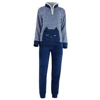 Γυναικείο πιτζάμα Karelpiu fleece ριγέ.Comfortable style ΜΠΛΕ