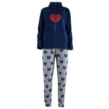 Γυναικεία πιτζάμα fleece karelpiu με κουμπιά all print heart ΜΠΛΕ
