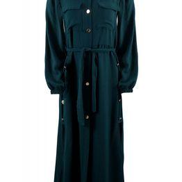 Γυναικείο φόρεμα safari κουμπιά ζώνη. Elegance Style. ΠΡΑΣΙΝΟ