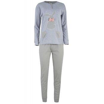 Γυναικεία πιτζάμα κέντημα τσέπες παντελόνι καρώ.Girly style. ΓΚΡΙ