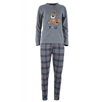 Γυναικεία πιτζάμα κέντημα αρκουδάκι παντελόνι καρώ.Girly style. ΓΚΡΙ