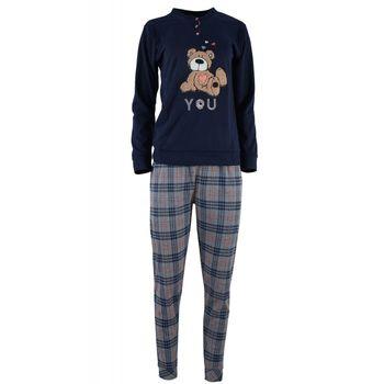 Γυναικεία πιτζάμα κέντημα αρκουδάκι παντελόνι καρώ.Girly style. ΜΠΛΕ