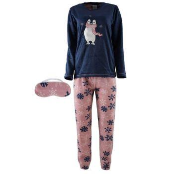 Γυναικεία πυτζάμα MIRANO fleece με κέντημα παντελόνι all print. Comfortable style ΜΠΛΕ