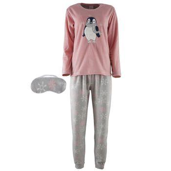 Γυναικεία πυτζάμα MIRANO fleece με κέντημα παντελόνι all print. Comfortable style ΡΟΖ