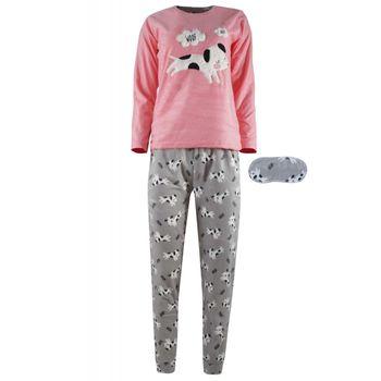 Γυναικεία πιτζάμα fleece Fawn κέντημα dog & μάσκα ύπνου ΡΟΖ