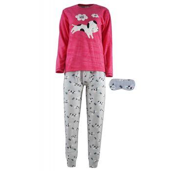 Γυναικεία πιτζάμα fleece Fawn κέντημα dog & μάσκα ύπνου ΦΟΥΞΙΑ