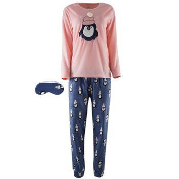 Γυναικεία πυτζάμα fleece κέντημα παντελόνι all print . Comfortable style. ΡΟΖ
