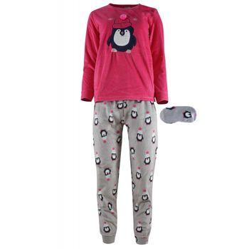 Γυναικεία πυτζάμα fleece κέντημα παντελόνι all print . Comfortable style. ΦΟΥΞΙΑ