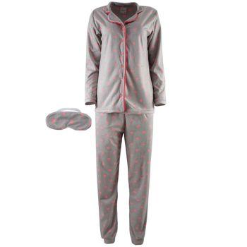 Γυναικεία πυτζάμα fleece με κουμπιά all print πουά. Comfortable style. ΓΚΡΙ