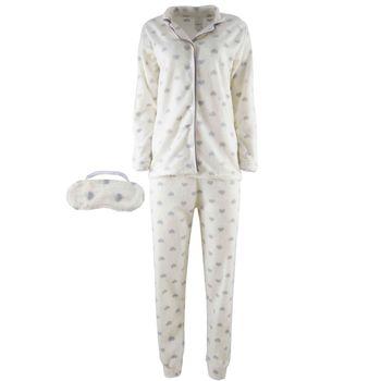 Γυναικεία πυτζάμα fleece με κουμπιά all print πουά. Comfortable style. ΛΕΥΚΟ