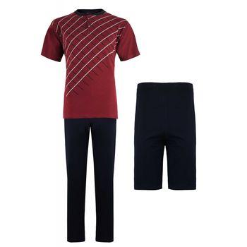 Ανδρικό set Falkom πυζάμας all cotton μπλούζα με παντελονι & σόρτς. 3 pieces. ΜΠΟΡΝΤΩ