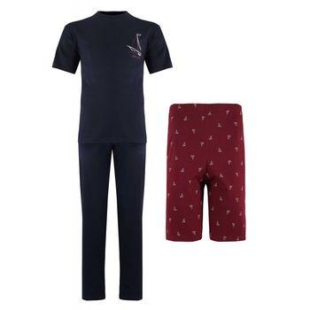 Ανδρικό set Falkom πυζάμας μπλούζα με σόρτς & παντελόνι 3 pieces. ΜΠΛΕ