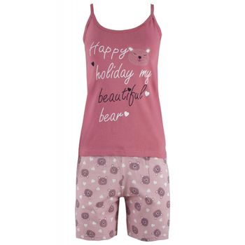 Γυναικείο baby-doll Fawn λεπτό ραντάκι στάμπα Holiday ΡΟΖ