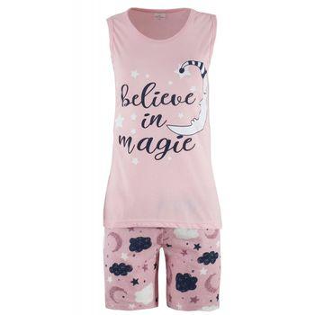 Γυναικείο baby-doll Fawn στάμπα Believe in magie. ΡΟΖ