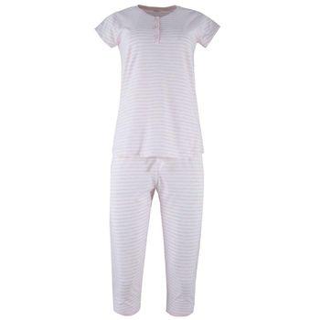 Γυναίκεια πυζάμα capri stripes print. Comfortable style ΡΟΖ