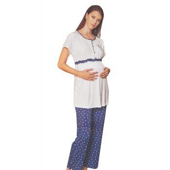 Γυναικεία πιτζάμα Anil εγκυμοσύνης all-print pois παντελόνι με ρυθμιζόμενο λάστιχο ΜΠΛΕ
