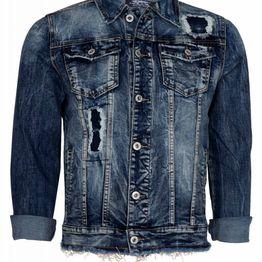Aνδρικό jean jacket ξέφτια στο τελείωμα. Slim γραμμή JEAN