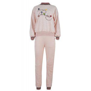 Γυναίκεια πιτζάμα fleece με λάστιχο print- Sleep dream. ΡΟΖ