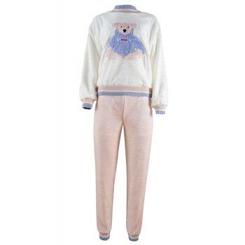 Γυναικεία πιτζάμα fleece κέντημα ρίγα μανίκι & λαιμό. ΕΚΡΟΥ