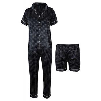 Σατέν πιτζάμα γυναικεία all print pois με μακρύ παντελόνι & σόρτς.Set 3 pack. ΜΑΥΡΟ