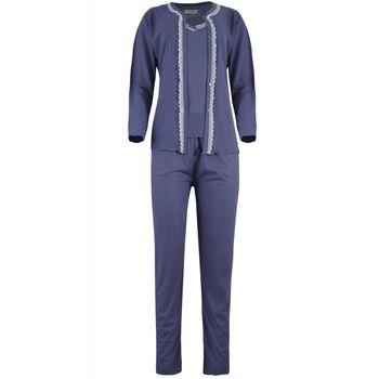 Γυναικείο σέτ πιτζάμα ζακετάκι κουμπιά φανελάκι λεπτό ραντάκι & παντελόνι. Set 3pack. ΜΩΒ