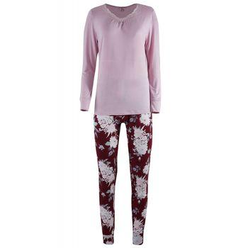 Πιζάμα γυναίκεια με V all-print floral παντελόνι. ΡΟΖ
