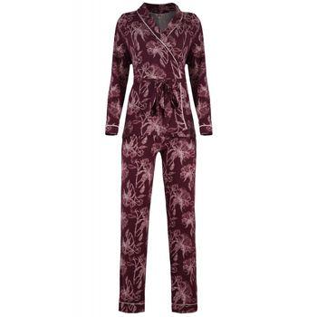 Γυναικεία πυτζάμα all print Ζακετάκι φανελάκι παντελόνι. Σέτ 3 τεμάχια ΜΠΟΡΝΤΩ