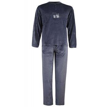 Αντρική πιτζάμα veloute με πατιλέτα & κέντημα. Comfortable style. ΓΚΡΙ