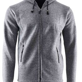 Aνδρική ζακέτα κουκούλα & πλαϊνές τσέπες γούνινη επένδυση ΓΚΡΙ