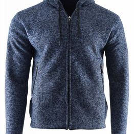 Aνδρική ζακέτα κουκούλα & πλαϊνές τσέπες γούνινη επένδυση ΜΠΛΕ