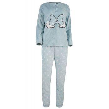 Γυναίκεια πιτζάμα fleece πατιλέτα παντελόνι all-print pois ΣΙΕΛ