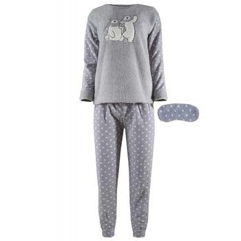 Γυναικεία πιτζάμα fleece fawn & μάσκα ύπνου, print pois παντελόνι. ΓΚΡΙ