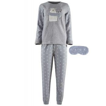 Γυναικεία πιτζάμα fawn fleece & μάσκα ύπνου, print heart παντελόνι ΓΚΡΙ