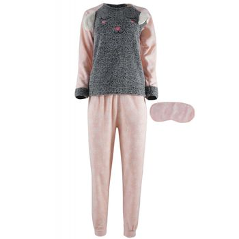 Γυναικεία πιτζάμα fleece fawn & μάσκα ύπνου, snow print παντελόνι ΓΚΡΙ