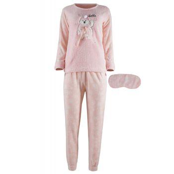 """Γυναικεία πιτζάμα fawn fleece & μάσκα ύπνου """"hello"""" ΡΟΖ"""