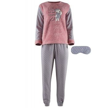Γυναικεία πιτζάμα fleece fawn & μάσκα ύπνου,time for a little snooze. ΡΟΖ