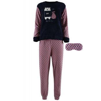 Γυναικεία πιτζάμα fleece fawn & μάσκα ύπνου, pois παντελόνι. NAVY