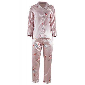 Γυναικεία saten πιτζάμα με κουμπιά floral print. ΡΟΖ