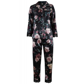 Γυναικεία πιτζάμα saten all-print floral διακοσμητική δαντέλα. Saten collection. ΜΑΥΡΟ