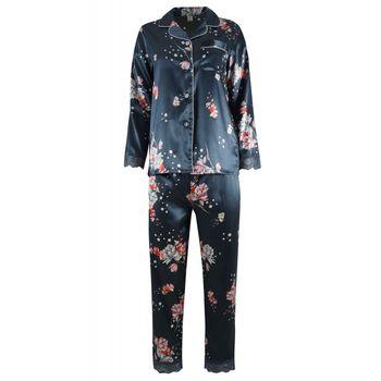 Γυναικεία πιτζάμα saten all-print floral διακοσμητική δαντέλα. Saten collection. ΠΕΤΡΟΛ