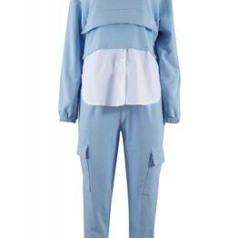 Σέτ φόρμας μπλούζα φερμούαρ τελείωμα πουκαμίσου & παντελόνι φούτερ cargo. Fitness Collection. ΣΙΕΛ