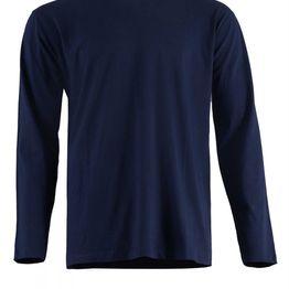 Αντρική μπλούζα cotton με λαιμόκοψη. Basic collection. ΜΠΛΕ