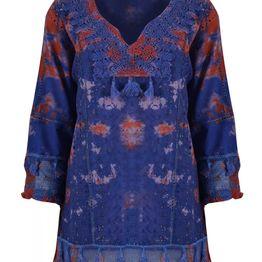 Γυναικείο καφτάνι Tie dye INDIGO