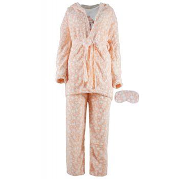 Σέτ γυναικεία πιτζάμα & ρόμπα fleece. Συσκευασία 3 τεμάχια. ΣΟΜΟΝ