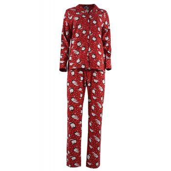 Γυναικεία πιτζάμα cotton nbb με κουμπιά all print . Girly style ΚΟΚΚΙΝΟ